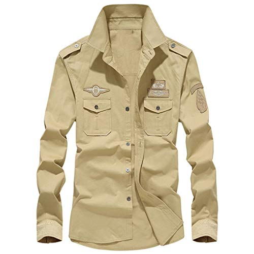 (iDWZATOP Mens Autumn Casual Military Cargo Slim Button Long Sleeve Dress Shirt Top Blouse(Khaki,US XXXL/CN)