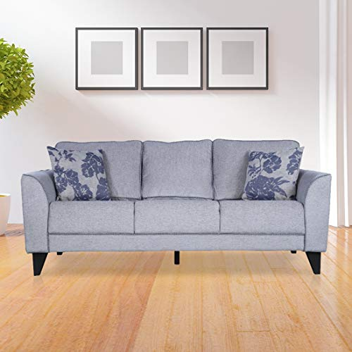 HomeTown Chester Plus Fabric Three Seater Sofa in Grey Color