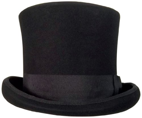 Wool Felt Top Hat Adult (Jacobson Hat Company Wool Felt Flared Top 8 Inch Tall, Black, Large/X-Large)
