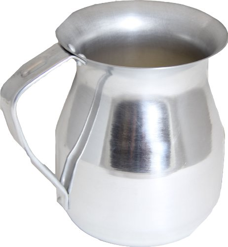 - 72 Oz. (Ounce) Aluminum Hot Chocolate Pitcher, w/Riveted Handle, Round Spouted Rim