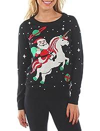 Women's Santa Unicorn Christmas Sweater - Ugly Christmas Sweater for Women