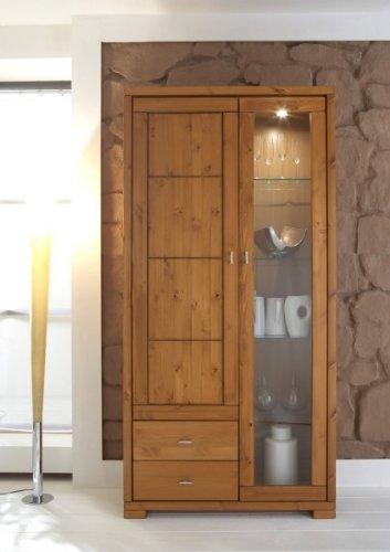 Vitrinenschrank Vitrine Wohnzimmerschrank Landhausstil Kiefer massiv, Farbe:weiß /prov. lackiert