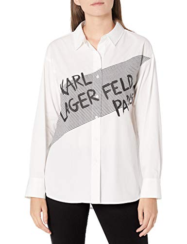 Karl Lagerfeld Paris Women's Long Sleeve Front Button Blouse