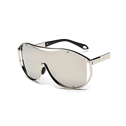 Style les pour métal les soleil Lens et lentille Oversized femmes cadre hommes lunettes soleil One PC Sport Lens UV Lady Rétro Piece Coloré de conduite Big lunettes de soleil Argent protection lunettes en de w1PHqt