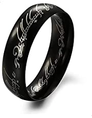 The Lord Ring Titanium Black Ring For Men Size 8