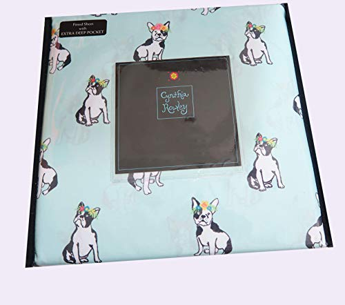 Cynthia Rowley Blue French Bulldog Puppy Dog in Floral Headdress Sheet Set (Twin) (Queen)