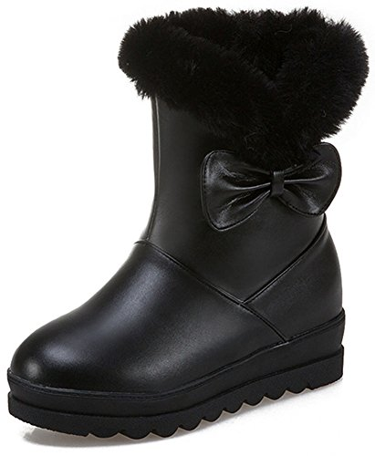Easemax Women's Comfy Bows Fluffy Fur Round Toe Mid Wedge Hidden Heels Pull On Mid Calf Snow Boots Black
