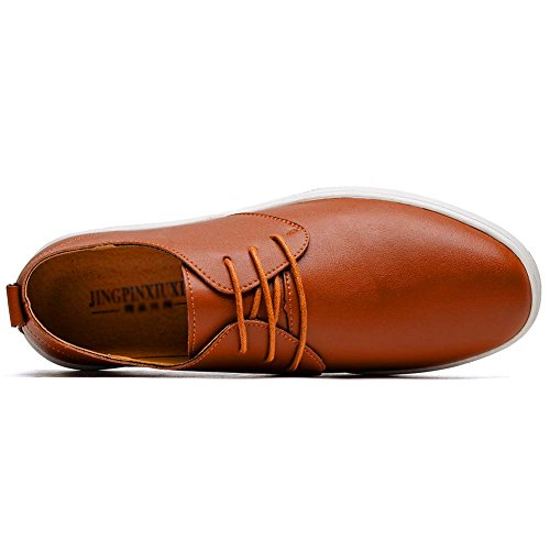 KONHILL Men's Casual Oxford Shoes Breathable Flat Fashion Lace-up Dress Shoes, Brown, 45 by KONHILL (Image #6)