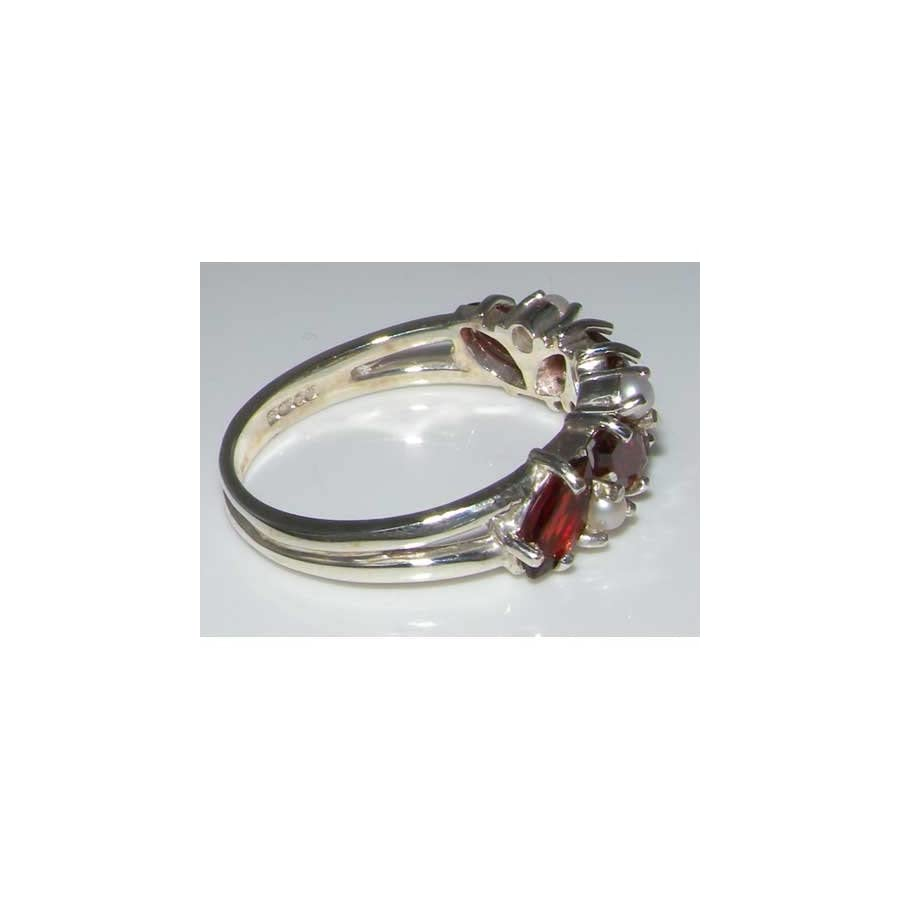 925 Sterling Silver Real Genuine Garnet & Cultured Pearl Womens Eternity Ring
