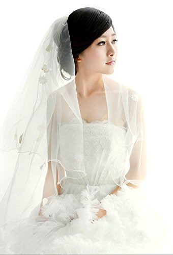 Soft Tulle Wedding Bridal Veil 1 Tier 2.8 Meters Long Cathedral Chapel Floor Veils with Elegant Embroidered Lace Trim for Women Bride(Pearl Flower Ivory ()