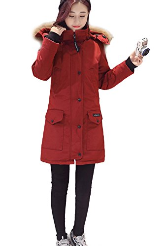 Queeenshiny New Style Winter Women's Long Down Coat with Hood Fashion Cloth Red S (4-6) by Queenshiny