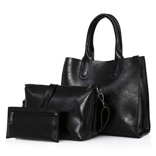 4f675568631d 3pcs top handle leather bags woman hand bag set red handbag for women  crossbody bag ladies handbags clutch purse Color Black Size 3PCS AS A WHOLE   ...