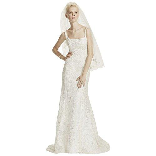 Oleg Cassini Tank Lace Wedding Dress with Beading Style CWG669, Ivory, 14