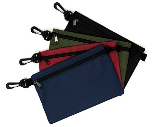 TIGRPRO Multi Purpose Clip On Canvas Polyester Storage Bag – Ideal as Zippered Tool Pouch, Office Supplies, Travel or Craft Organizer Bags – Heavy Duty, Double Stitched Durable Seams - Set of 4 by TIGRPRO