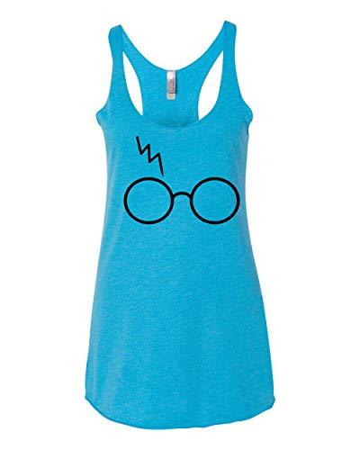 (Black Wizard HP Glasses Scar   Womens Pop Culture Premium Tri-Blend Racerback Tank Top, Vintage Turquoise, X-Large)
