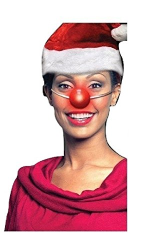 Nicky Bigs Novelties Light Up Rudolph Red Nose Clown Flashing Blinking Costume Accessory