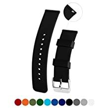 Classic Silicone Watchband Strap, Soft Rubber Surface with Textured Non-slip Back, Waterproof & Washable, Black 14mm