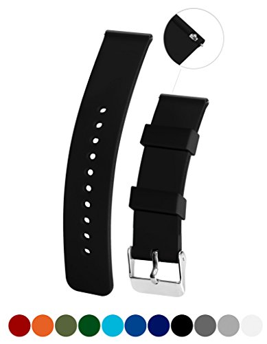 Silicone Watchband Strap,Quick Release, Soft Rubber Surface with Textured Non-slip Back, Waterproof & Washable, Black 14mm