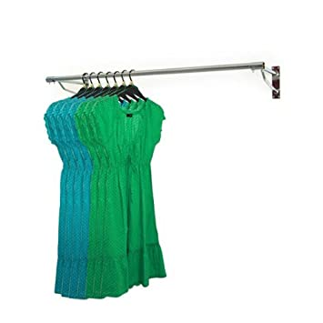 4ft Long Wall Mounted Clothes Rail Chrome Garment Hanging Rack ...