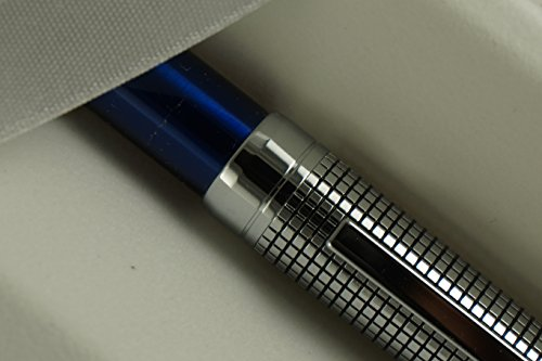 Cross Diamond Cut Crosshatch Etched Cap and Blue Lacquer Barrel Ballpoint Pen and 2 Bonus Refill3 in Cross Gift Box