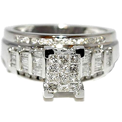 Midwest Jewellery Princess Cut Diamond Wedding Ring 3 in 1 Engagement & Bands White Gold .9ctÂ