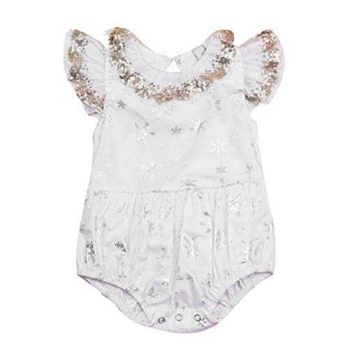 Newborn Infant Baby Girls Romper Jumpsuit Small Flying Sleeve Sequin Print Onesies Outfits Set for $<!--$2.89-->