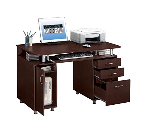 Techni Mobili Complete Computer Workstation with Cabinet and Drawers - Chocolate (Brown Desk)