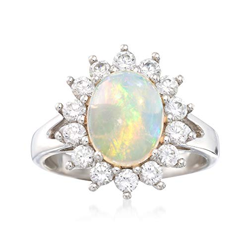 (Ross-Simons Opal and .90 ct. t.w. White Zircon Ring in Sterling Silver)