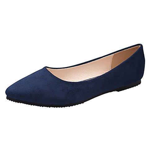 Scarpa Classica Da Donna Classica Punta Morbida Punta Piatta In Morbida Pelle Scamosciata Ballerina Slip On Flats Scarpe Blu