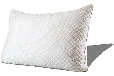 Rachel - PureComfort Queen Premium Adjustable Fill Shredded Hypoallergenic CertiPUR Memory Foam Pillow with Proprietary Washable Removable Cooling Bamboo derived Cover - 5 Year Warranty