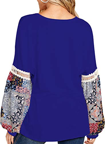 FARYSAYS Women's Boho Sexy V Neck Long Sleeve Floral Print Splice T-Shirt Tops Casual Blouse Blue Large by FARYSAYS (Image #2)