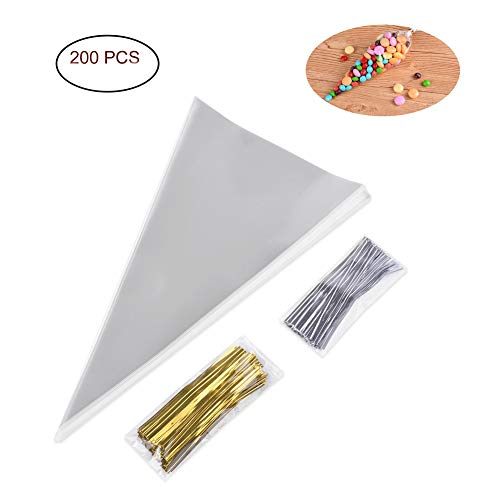 Uarter Cone Shaped Treat Bags with Twist Ties 4