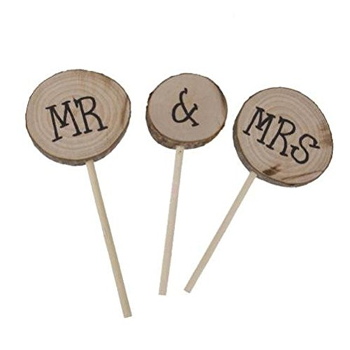 Wooden Round Mr Mrs Shabby Chic Rustic Wedding Cake Topper Pick Decoration for $<!--$7.99-->