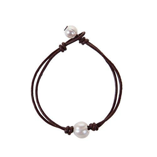 The Feeling Handmade Pearl Wrap Bracelet Single Pearl Leather Knotted Bracelet for Women 7