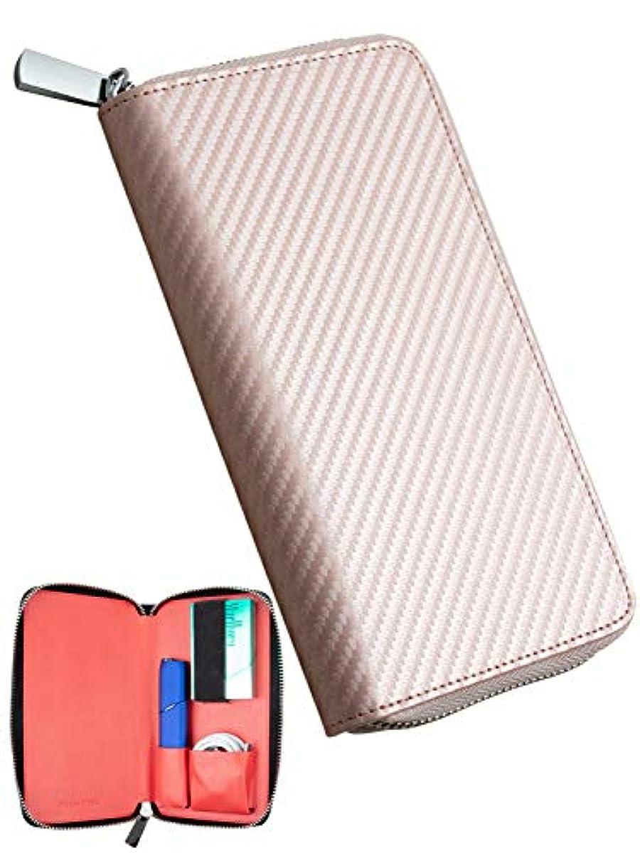 [해외] HIGH FIVE 아이고스3멀티 케이스 신형 IQOS3MULTI 전용 케이스 카본 레져 지갑형 가죽 카드 만들어 넣음담는 그릇·상자 등 전자 토바코 커버 본체 heat 스틱 전부 수납 홀더 핑크 골드