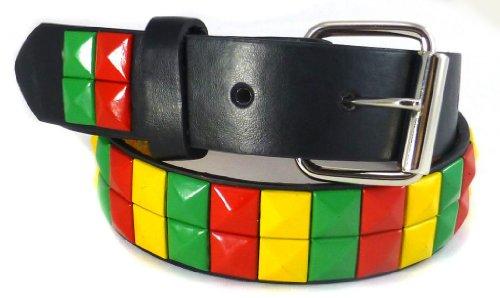 Nice Shades Studded Plain Kids Belts Black/Rasta - - Rasta Shades