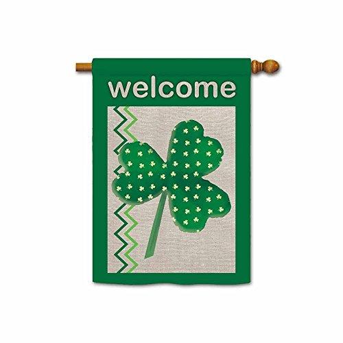 KafePross Welcome Green Shamrocks St Patricks Day House Flags 28