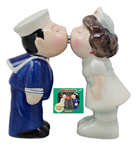 Ebros Sailor Kissing Nurse Salt And Pepper Shakers Set Ceramic Figurines Party Kitchen Tabletop Decor Collectible