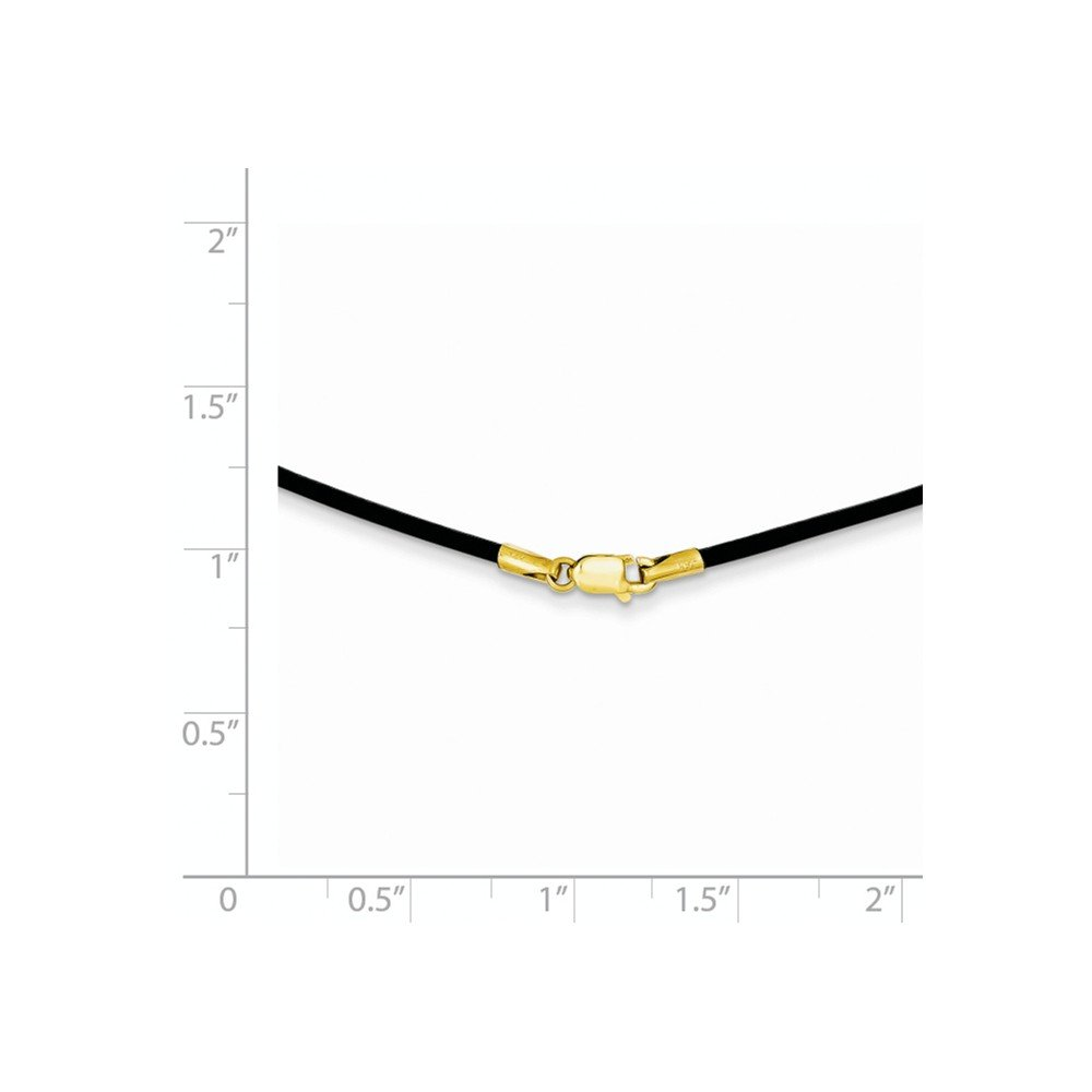 Mia Diamonds 14k Yellow Gold 1.5mm 18in Black Leather Cord Necklace