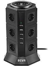 BEVA 12 Fach Steckdosenleiste 5 USB Mehrfachsteckdose Steckdosenturm Multi Steckdosen Steckerleiste Mehrfachstecker, Überspannungsschutz und Kurzschlussschutz (mit 2 Schalter und 2m Kabel, 2500W/10A)