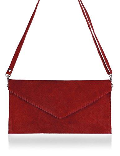 Bernstyn - pochette Lady Sophie, in vera pelle, rosso