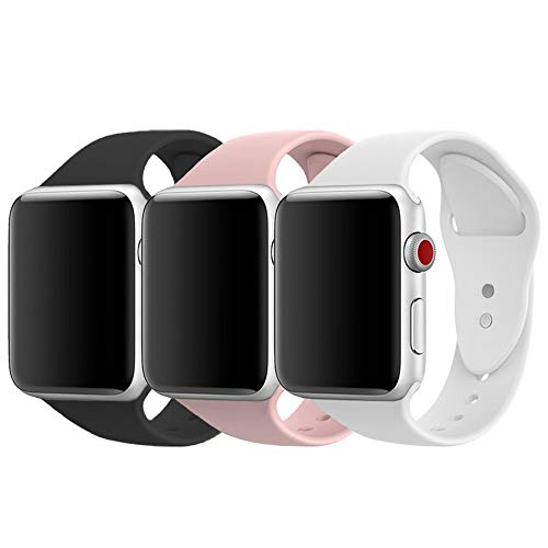 AdMaster Compatible for Apple Watch Band 42mm, Soft Silicone Sport Strap Compatible for iWatch Apple Watch Series 1/ Series 2/ Series 3, S/M Size (Black/Pink Sand/White)