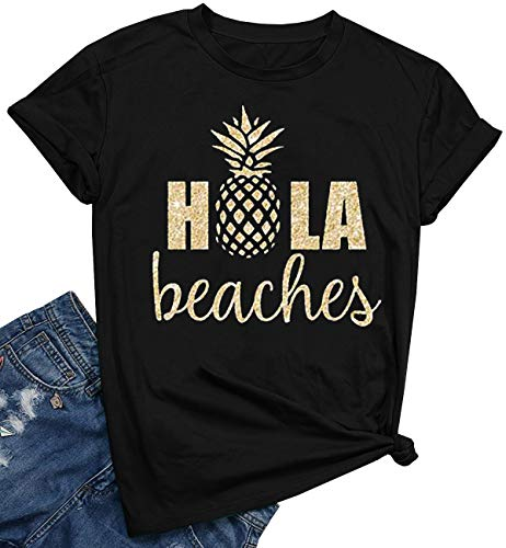YEXIPO Womens Hola Beaches Pineapple Print T Shirt Hawaiian Summer Vacation Funny Graphic Tees Short Sleeve Tops Black ()