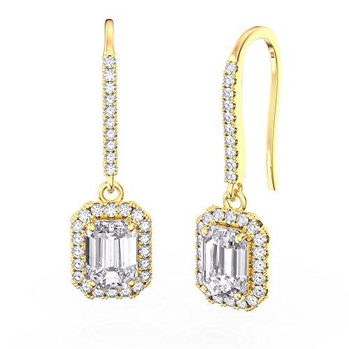 Princesse Argent Sterling Diamant Boucles d'oreilles (Coupe émeraude Or jaune)