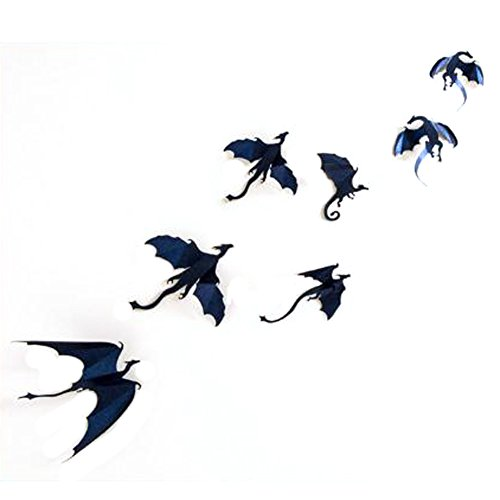 [Whitelotous 7 PCs Flying Dragon 3D Wall Stickers Vinyl DIY Removable Wall Art Decals for Kids Room Halloween Fantasy] (Diy Halloween Decor)