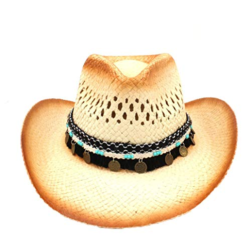 (Men Straw Cowboy Hat Classic Vintage Wide Brim Outback Hat Sunhat with Leather Band)