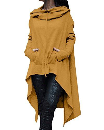 Mujer Sudadera Larga Con Capucha y Bolsillos Manga Larga Amarillo