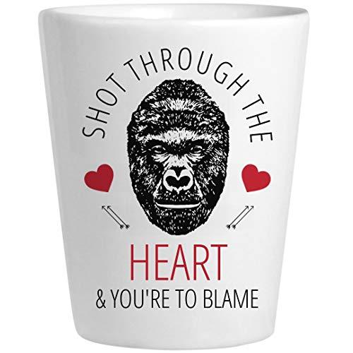 Harambe Valentine Shot Glass: Ceramic Shot Glass -