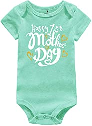 AMMENGBEI Newborn Infant Baby Happy 1st Mother's Day Outfit Short Sleeve Bodysuit Romper