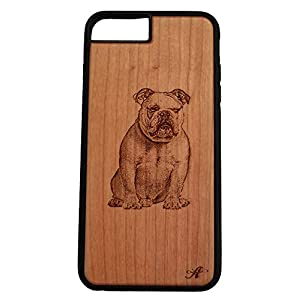 iPhone 6,7,8 Compatible Laser Engraved Cherry Wood Cell Phone Case…Created from a Photo of an English Bulldog 10